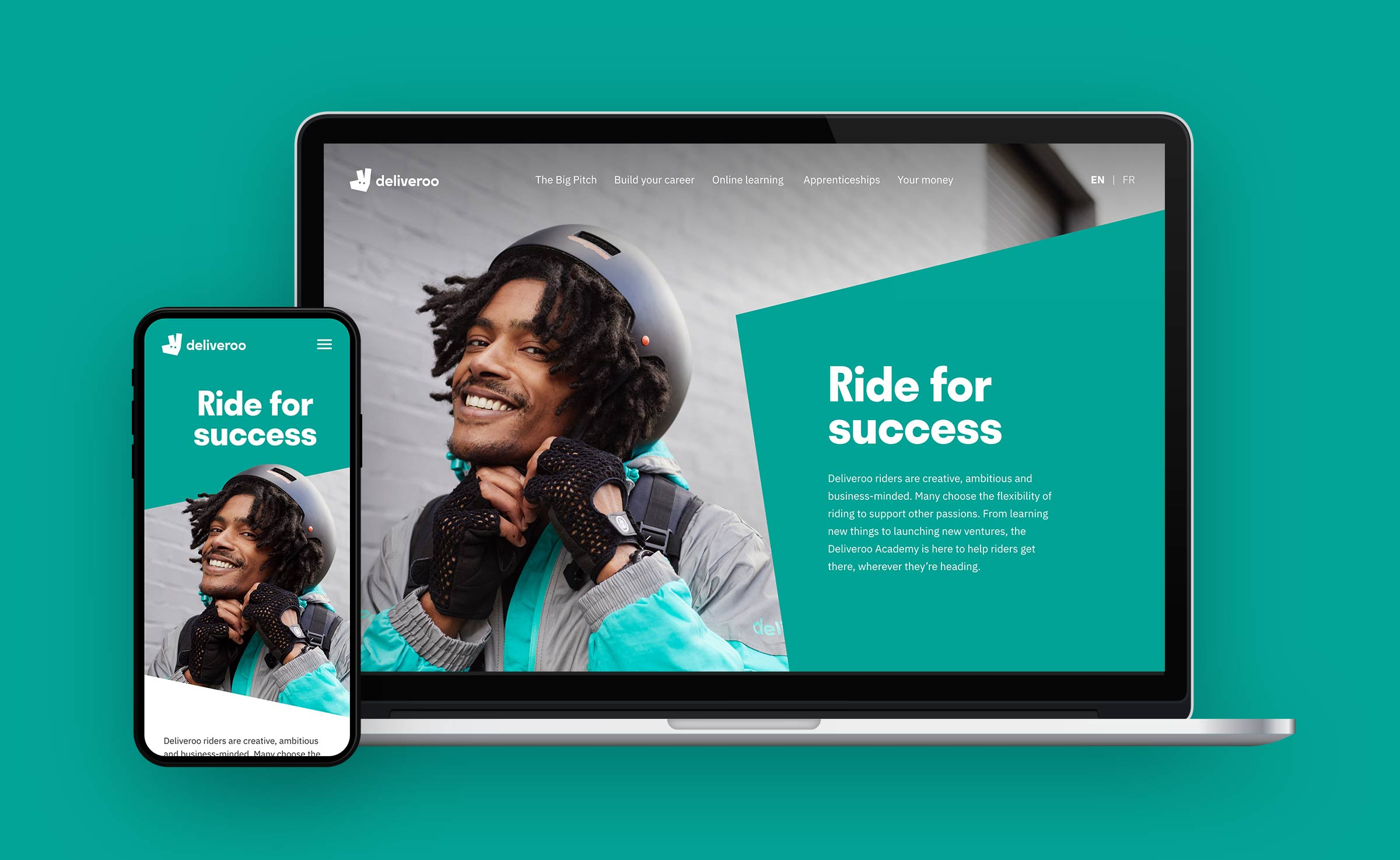 Deliveroo riders' academy website on a phone and a laptop